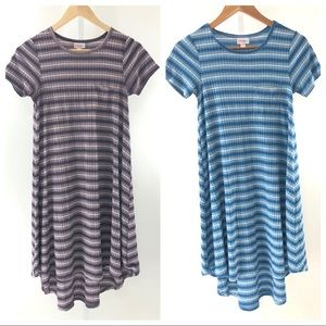 Set of 2 Lularoe Carly Ribbed Striped Dresses XXS
